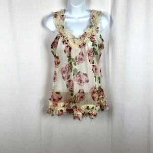 Passport sheer floral lace embellished tank top S